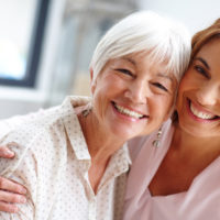 Woman spending time with her senior mother
