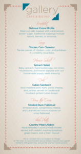Sample menu from Gallery Café & Bistro