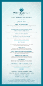 Sample menu from Waterstone Fine Dining