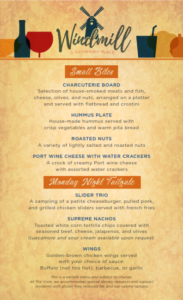 Sample menu from Windmill