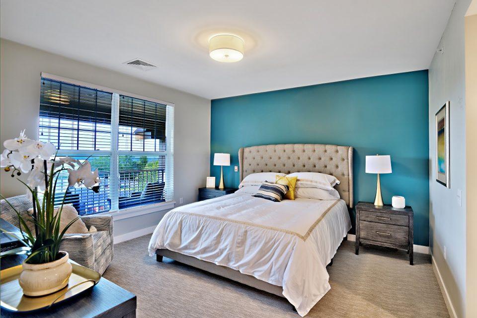 Apartment bedroom at The Vista.