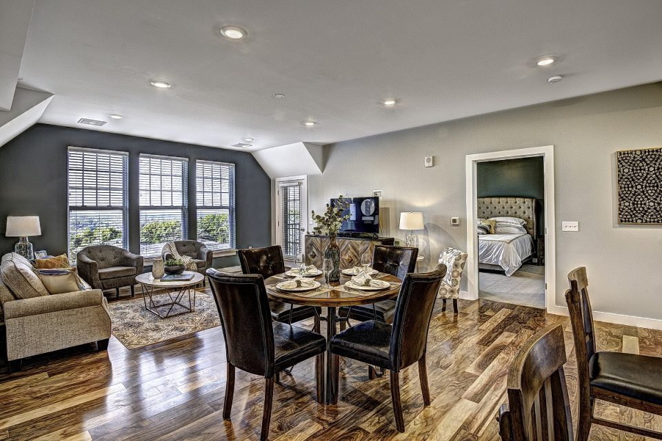 The dining room in the new apartments.
