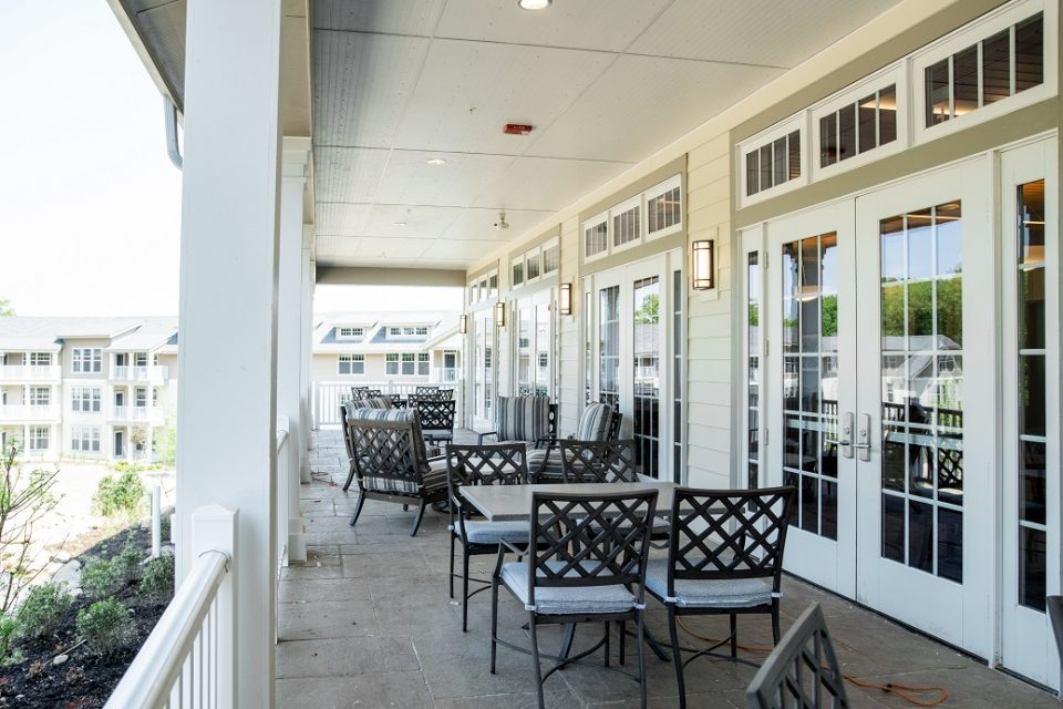 Outdoor tables at The Vista.