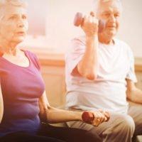Seniors strength training and exercising.