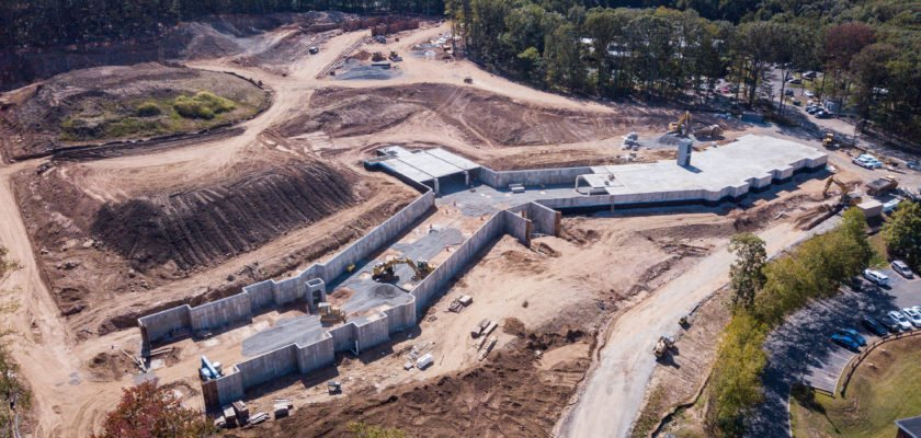 Aerial view of construction progress
