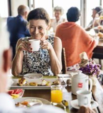 Woman enjoying breakfast