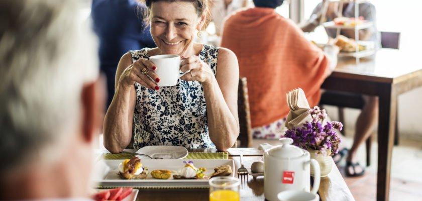 Woman enjoying breakfast