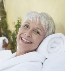 Mature woman enjoying a day at the spa.